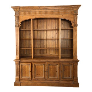 Pine Ethan Allen Library Bookcase Cabinet For Sale