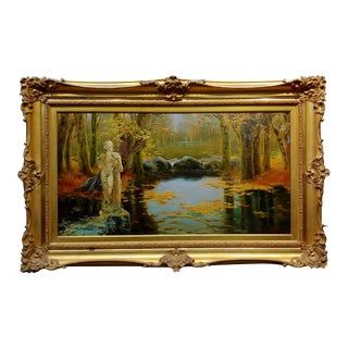 Enrique Serra -1890s Young Satyr Figure Playing the Flute in the Pontine Pond-OIl Painting For Sale