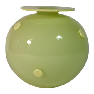 Contemporary Art Glass Round Polka Dot Vase Signed Two Tone Studios For Sale