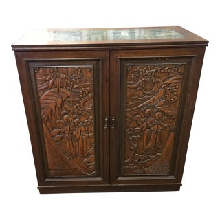 Asian Teak Marble Top Fold Out Bar