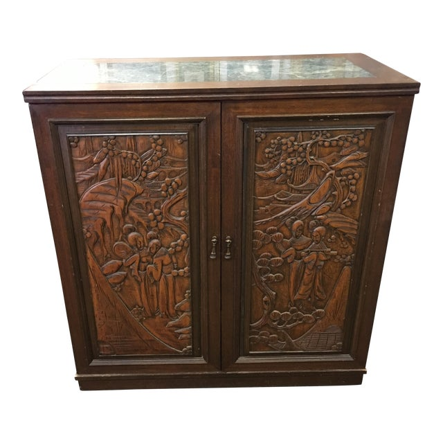 Asian Teak Marble Top Fold Out Bar For Sale