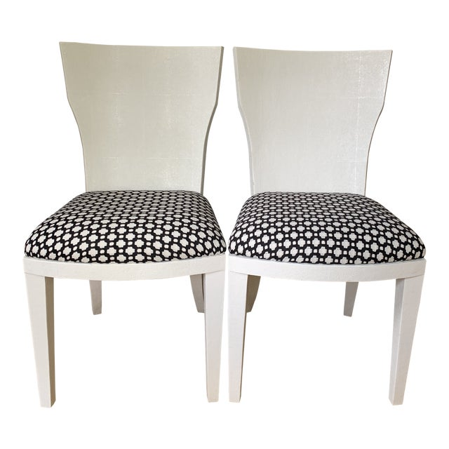 White Made Goods Faux Shagreen Side Chairs- a Pair For Sale
