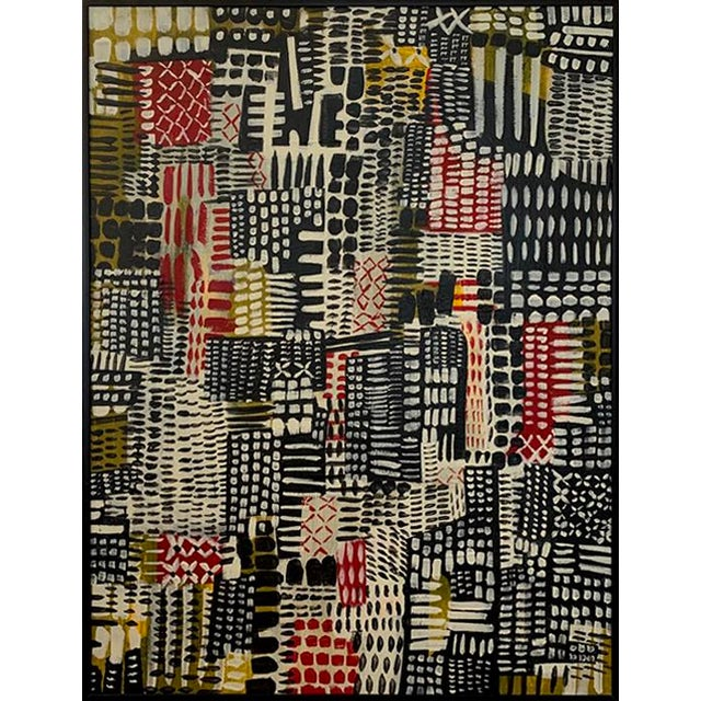 Mid-Century Inspired Framed Patchwork Style Painting For Sale