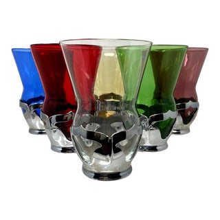 Hand Blown Crystal Vintage Art Deco Multi-Color Tumblers & Chrome Inserts – Set of 6 For Sale