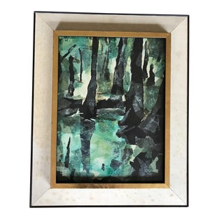Velma Pearson Mid Century Modern Vintage Tree Scape Collage For Sale
