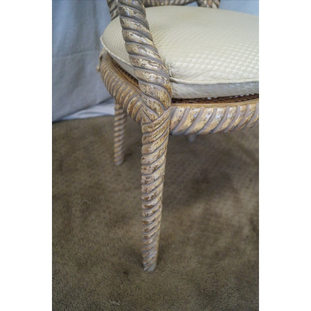 Hollywood Regency Gilt Painted Rope Turned Chair - Image 6 of 10