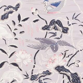 Schumacher Lotus Garden Wallpaper in Lilac For Sale
