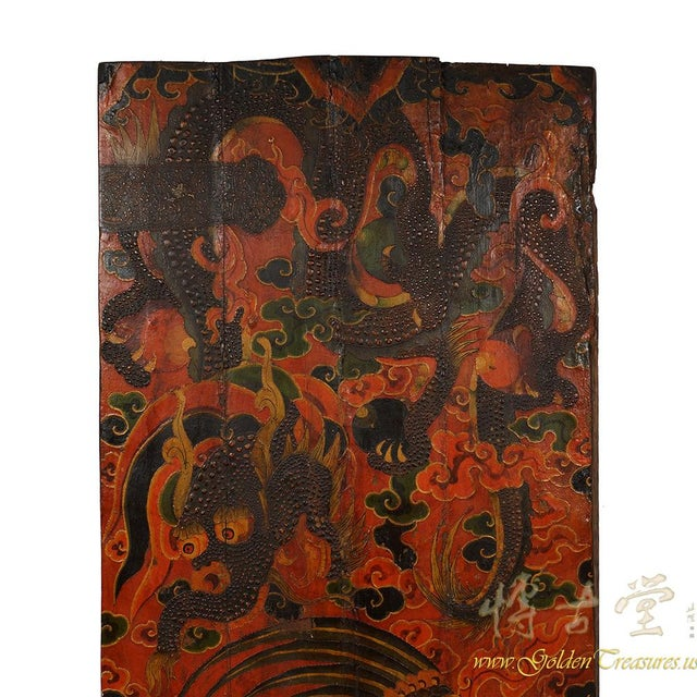 This antique Tibetan Painted Door Panel was 100% hand made and hand painted using mineral painting which last the paint a...