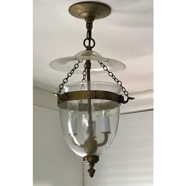 Set of 3, Clear Glass and Brass Bell Jar, Three Candle, Light Fixture For Sale - Image 12 of 12