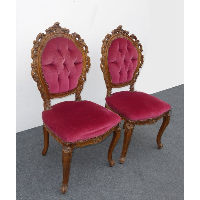 Ornate French Carved Tufted Back Chairs - Pair - Image 3 of 11