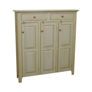 Bucks County Custom Country Pine Painted 2 Drawer 3 Door Cupboard For Sale
