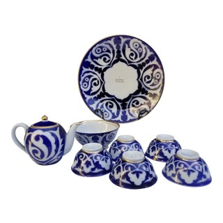 Vintage Russian Uzbek Tea Service With Serving Plate, Teapot Bowl and Cups - Set of 8 For Sale