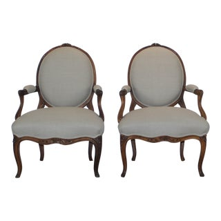 19th Century French Traditional Light Grey Arm Chairs - a Pair