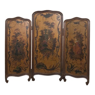 19th Century French Painted Paravent ~ Fireplace Screen For Sale