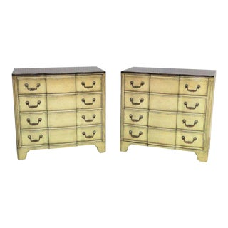 Widdicomb Provincial Style Distressed Cream Painted Chest of Drawers - A Pair For Sale