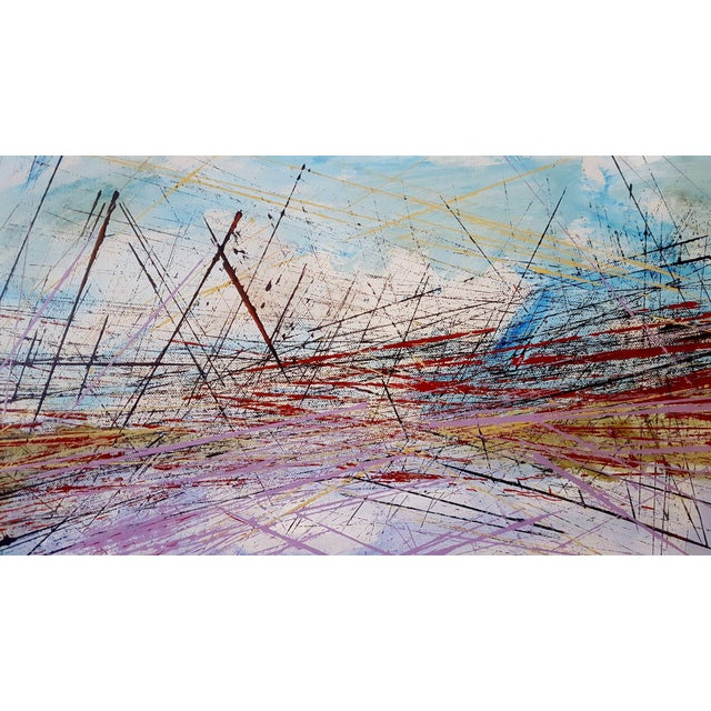 This is a colorful abstract linear painting that depicts a criss cross of many lines. It evokes an idea of a bridge with...