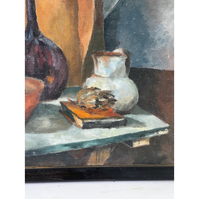 Wood Midcentury Still Life Oil Painting For Sale - Image 7 of 12