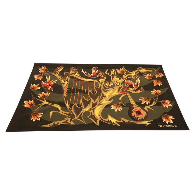 Mid Century French Wool Wall Tapestry - Image 1 of 6
