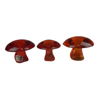 Viking Glass Persimmon Mushroom Figurines - Set of 3 For Sale