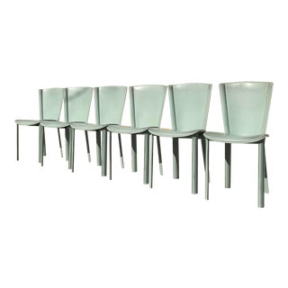 Vintage Italian Teal Cowhide Dining Chairs - Set of 6 For Sale