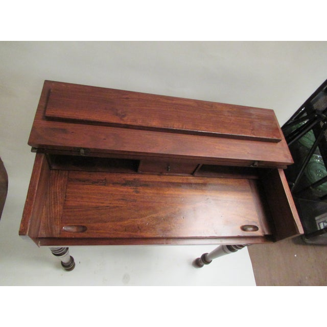 1930s Children's Spinet Flip Top Walnut Writing Desk with Caned Chair For Sale - Image 11 of 13