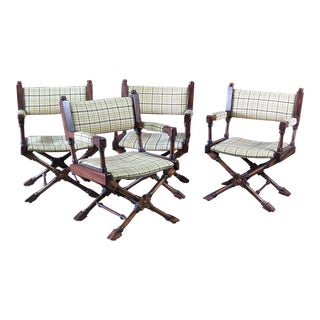 Vintage Mid Century Director Style X Chairs- Set of 4 For Sale