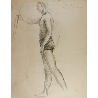 1950's Studio Drawing Male Figure For Sale