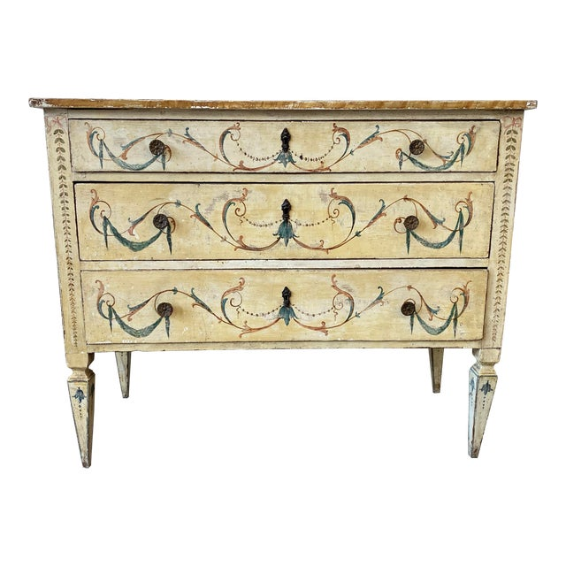 Italian Commode With Hand Painted Designs - 19th C For Sale