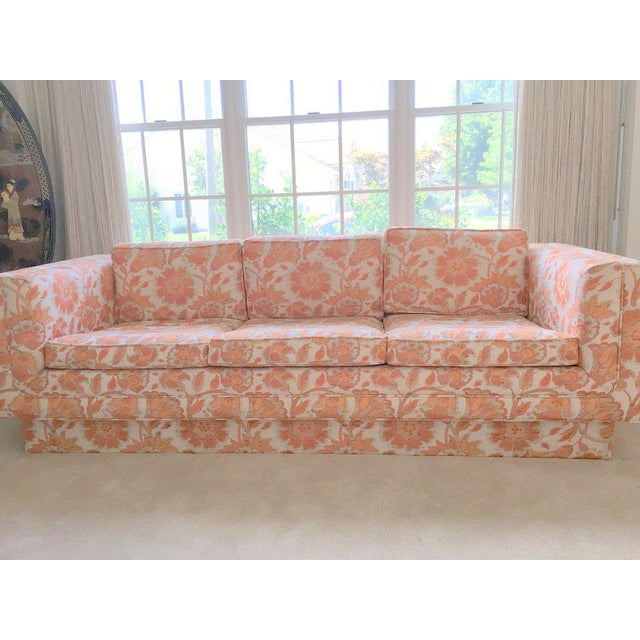 Mid Century Modern Milo Baughman Style Orange Indian Print Upholstery Plinth Base Sofa For Sale - Image 4 of 9
