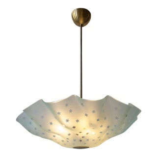 Orrefors Attributed, Rare Swedish Frosted Glass & Brass Handkerchief Chandelier For Sale