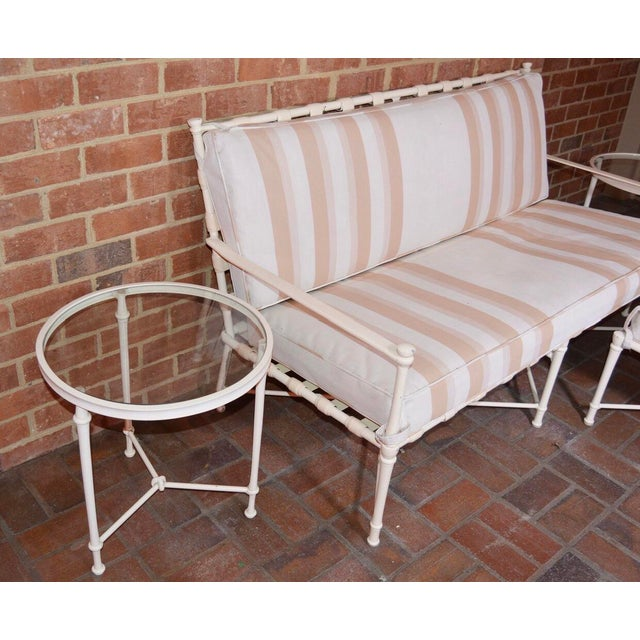 Mid 20th Century Brown Jordan Cast Metal Outdoor Settee, Ottoman & Accent Tables For Sale - Image 5 of 12