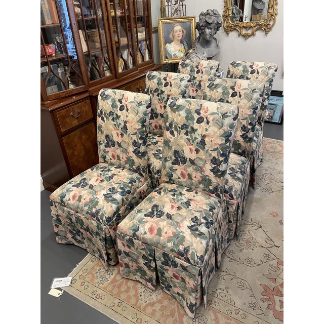 Textile 1960s Vintage Floral Parson Style Side Chairs - Set of 4 For Sale - Image 7 of 7