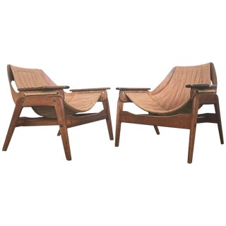 Mid-Century Walnut Sling Chairs by Leathercrafter - A Pair For Sale