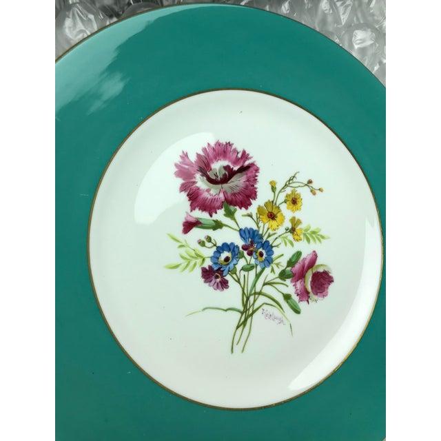 Signed J. Colclough Minton H4780 Hand Painted Floral Aqua Rim Plates - Set of 12 For Sale - Image 11 of 13
