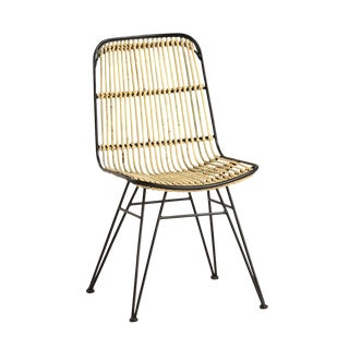 Rattan & Iron Dining Chair For Sale