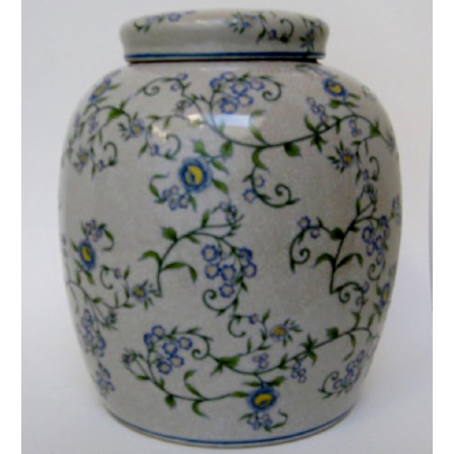 Chinese Gray Floral Ginger Jar For Sale - Image 3 of 6