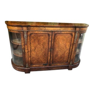 19th Century Victorian Walnut Inlaid Ormolu Credenza For Sale