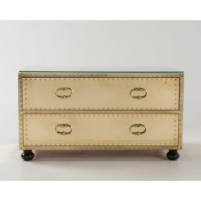 Brown 1970s Spanish Sarreid Brass Clad Two-Drawer Chest For Sale - Image 8 of 13