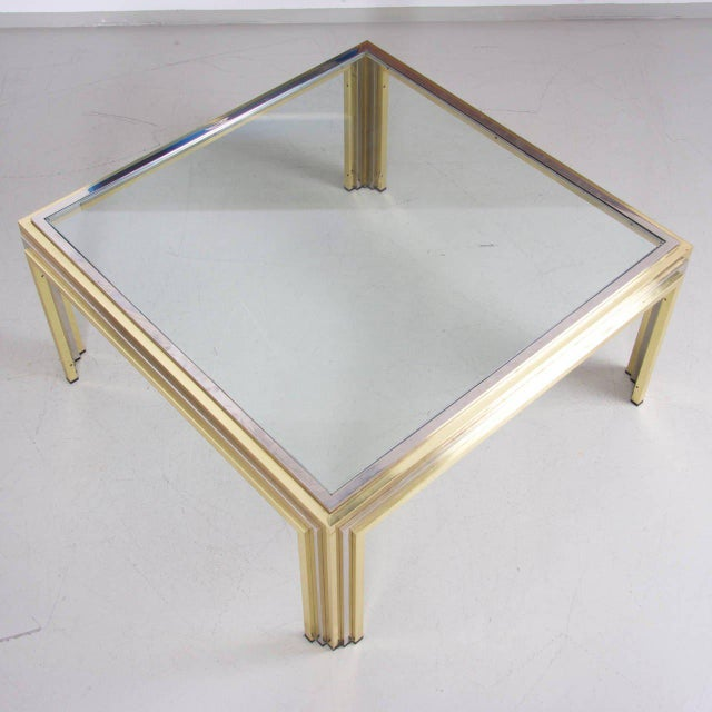 Modern Romeo Rega Coffee Table in Brass and Chrome For Sale - Image 3 of 6