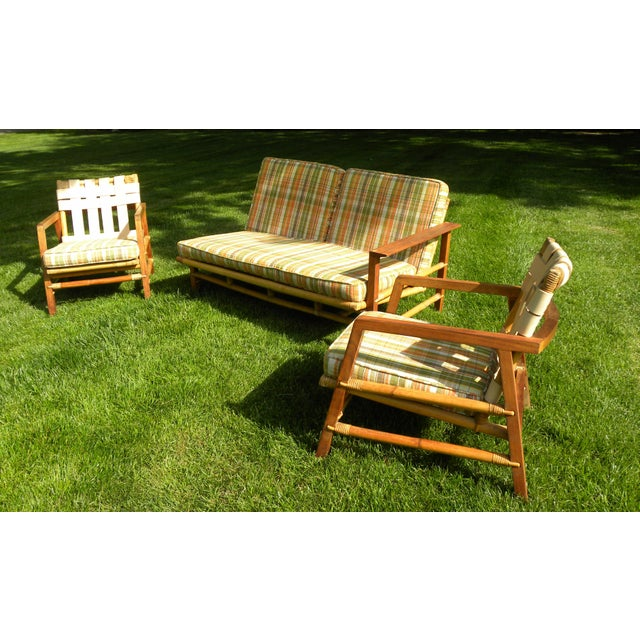 Mid-Century Modern Ficks Reed Vintage Day Bed & Leather Back Chairs For Sale - Image 3 of 11