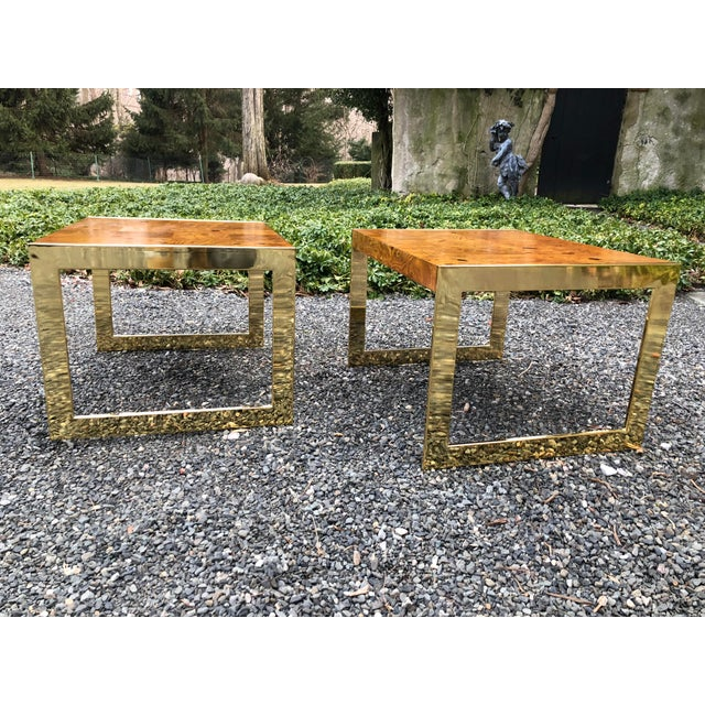 1970s Mid-Century Modern Olive Wood and Brass End Tables - a Pair For Sale - Image 12 of 13