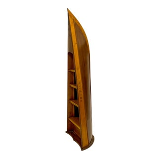 Hand Hewn Rowing Boat Nautical Bookcase For Sale