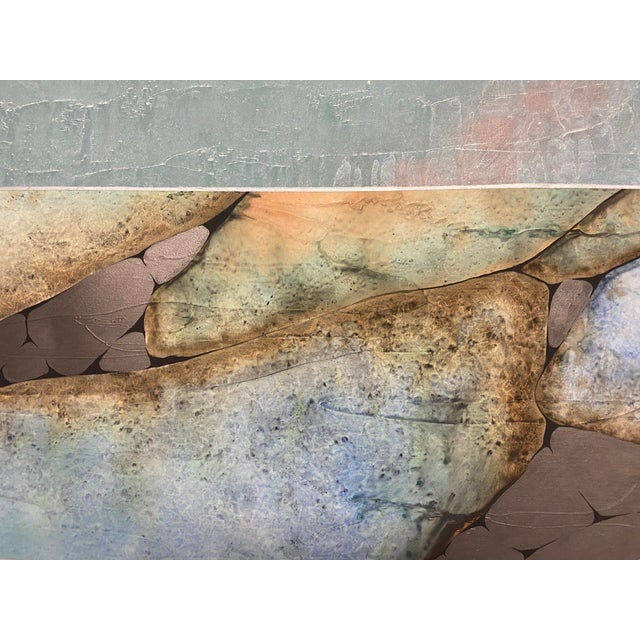 Sky Blue Mid-Century Three Piece Mixed Media Painting For Sale - Image 8 of 12