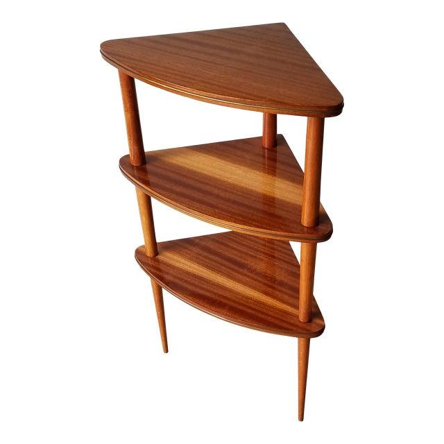 Mid 20th Century Italian Mid-Century Modern Corner Three Tiered Shelf For Sale