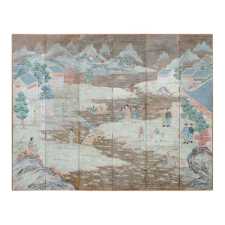 Chinese Six Panel Hand-Painted Silver Leaf Wallpaper Screen For Sale