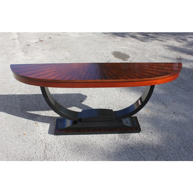 1940s Art Deco Exotic Macassar Ebony ''Sunburst'' Console Table For Sale - Image 13 of 13