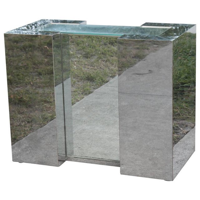 Milo Baughman Style Mirrored Chrome Dining Table Base For Sale - Image 11 of 12
