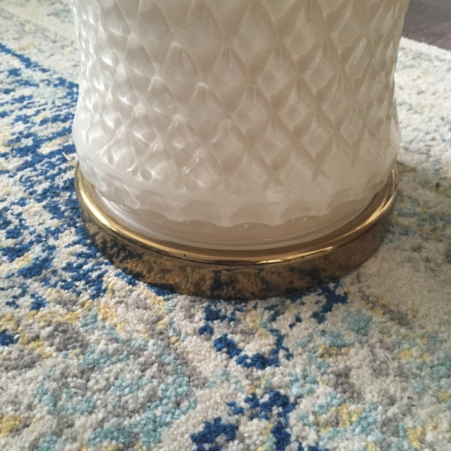 White Glass Quilted Ginger Jar Lamps - A Pair - Image 10 of 11