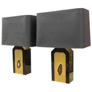George Mathias Agate Lamps - A Pair For Sale