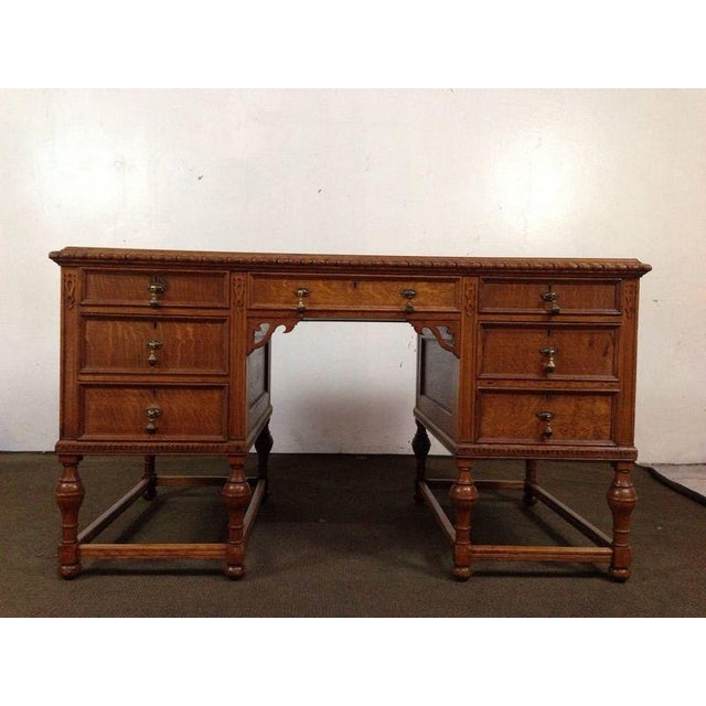 Antique English Tiger Oak Carved Desk - Image 2 of 10